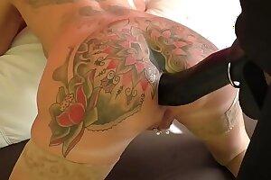Busty milf wife getting doggystyle anal sex with big dildo