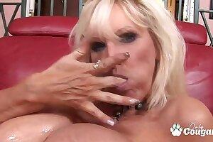 Tia Gunn Licks Cum Off Her Big Phony Tits