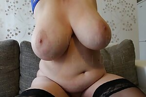 Soccer mom shows her massive boobs