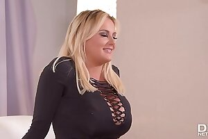 Busty vixen Katie Thornton Masturbates during Interview