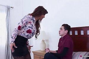 Bossy Stepmom makes her Son fuck her ass! - Syren De Mer