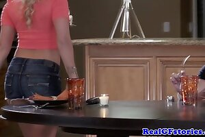Cheating housewife fucking in the kitchen